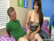 Cute Teen Vanessa Jacks A Short Guy Midget With Massive Member